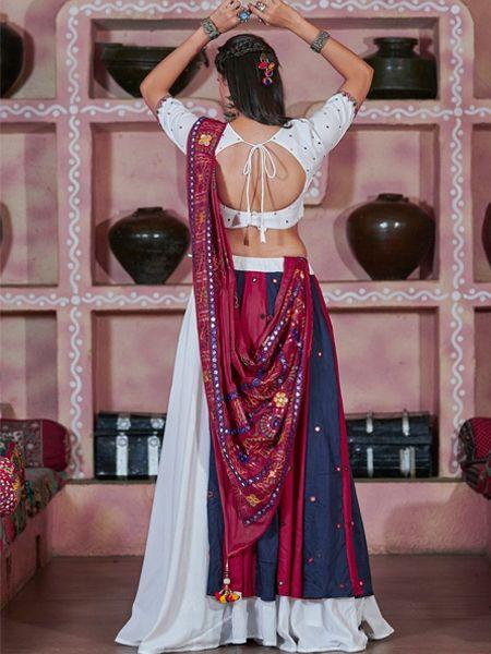 Off White Cotton Embroidered Chaniya Choli