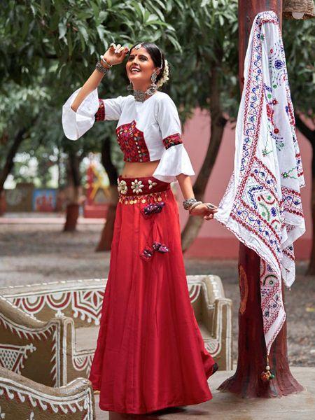 Buy Red Cotton Embroidered Chaniya Choli Online- YOYO Fashion