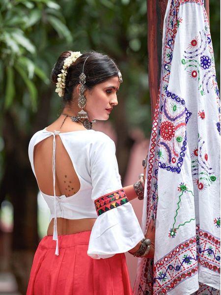 Red Cotton Embroidered Chaniya Choli