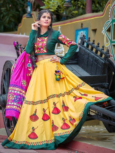 Buy Yellow Cotton Embroidered Chaniya Choli Online- YOYO Fashion