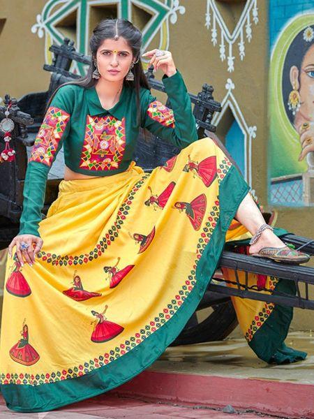 Yellow Cotton Embroidered Chaniya Choli