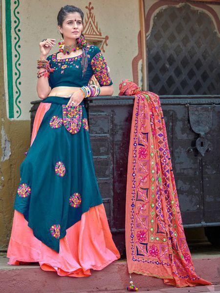 Buy Blue and Peach Cotton Patch Work Chaniya Choli Online- YOYO Fashion