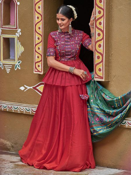 Buy Maroon Silk Embroidered Chaniya Choli Online- YOYO Fashion