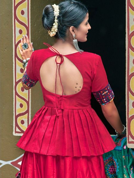 Maroon Silk Embroidered Chaniya Choli