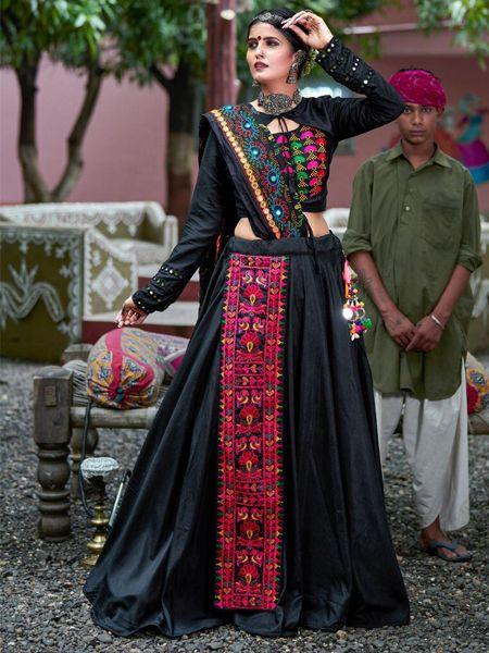 Buy Black Cotton Embroidered Chaniya Choli Online- YOYO Fashion