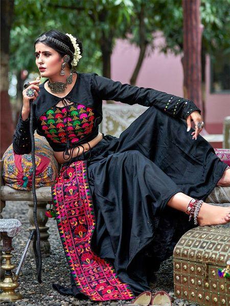 Black Cotton Embroidered Chaniya Choli