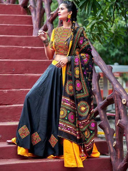 Buy Yellow and Black Cotton Embroidery Chaniya Choli Online in India- YOYO Fashion