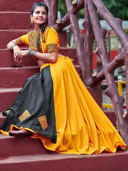 Yellow and Black Cotton Embroidery Chaniya Choli