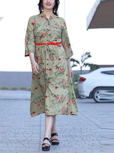 Buy Stylish Khaki Rayon Kurti Online in India- YOYO Fashion