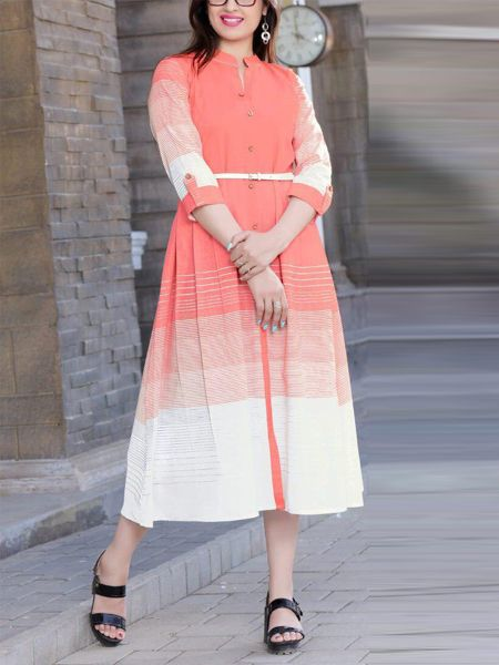 Buy Stylish Peach Rayon Kurti Online in India- YOYO Fashion