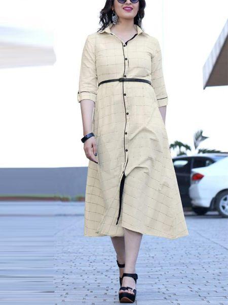 Buy Stylish Off White Rayon Kurti Online in India - YOYO Fashion