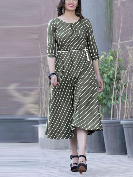 Buy Stylish Dark Green Rayon Kurti Online in India - YOYO Fashion