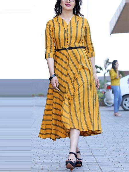 Buy Stylish Yellow Rayon Kurti Online in India- YOYO Fashion