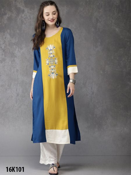 Buy Yellow and Blue Rayon Kurti Online- YOYO Fashion