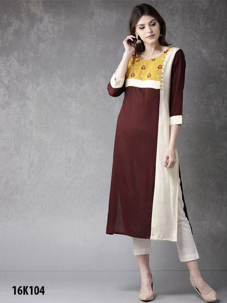 Buy Brown and White Rayon Kurti Online- YOYO Fashion