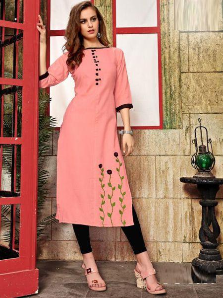 Buy Peach Cotton Kurti Online in India- YOYO Fashion