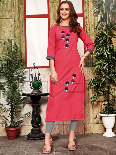 Buy Pink Cotton Kurti Online in India- YOYO Fashion