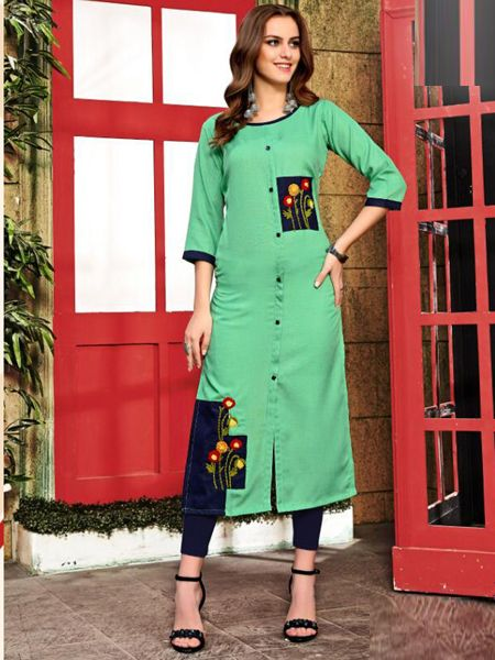 Buy Sea Green Cotton Kurti Online in India- YOYO Fashion