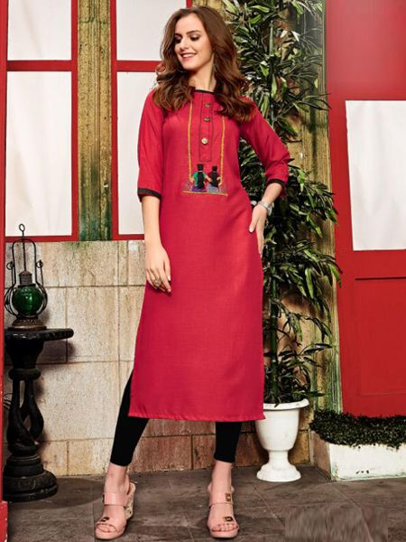 Buy Red Cotton Kurti Online in India- YOYO Fashion