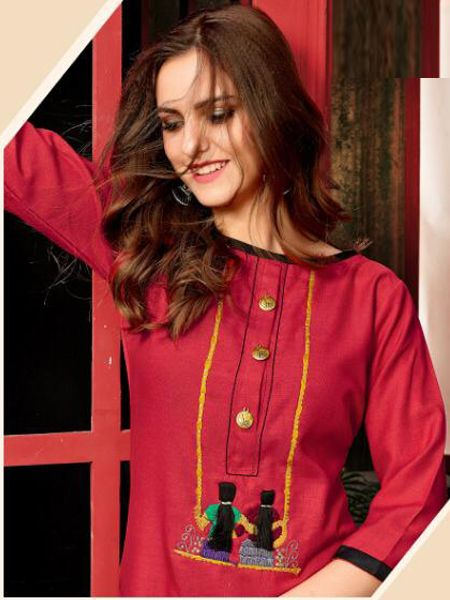 Red Cotton Kurti