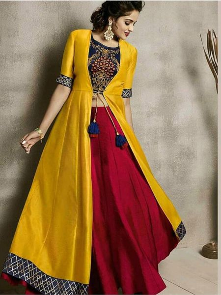 Yellow and Maroon Party Wear Indo Western