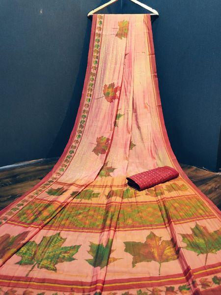 Pink and Green Cotton Silk Saree
