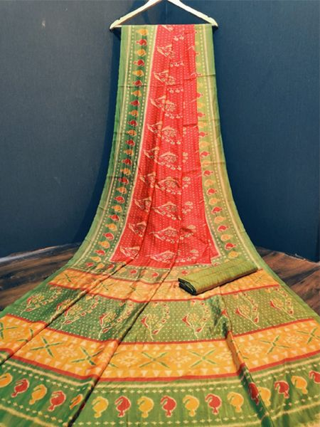 Green and Red Cotton Silk Saree