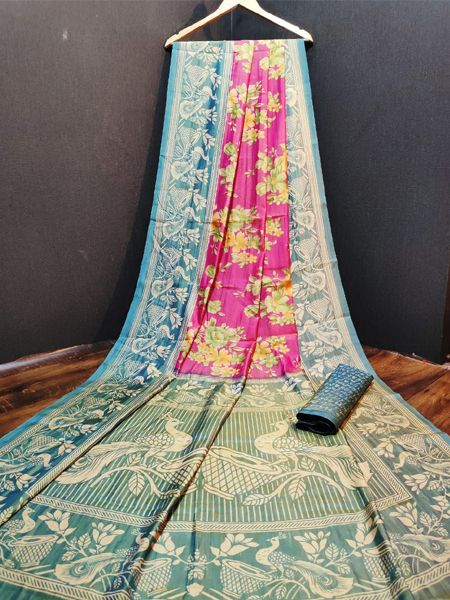 Blue and Pink Cotton Silk Saree