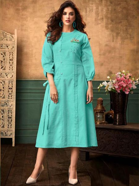Buy Stylish Sky  Blue Cotton Kurti Online in India- YOYO Fashion