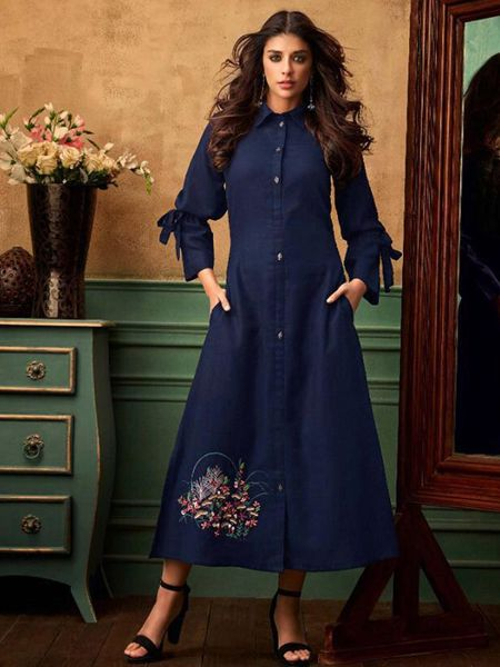 Buy Stylish Blue Cotton Kurti Online in India- YOYO Fashion