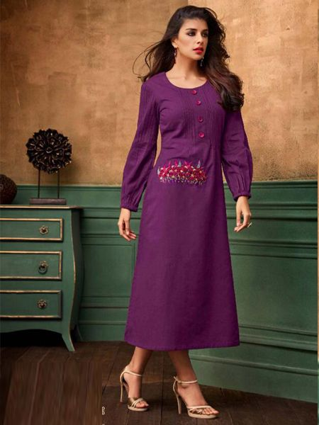 Buy Stylish Purple Cotton Kurti Online in India- YOYO Fashion