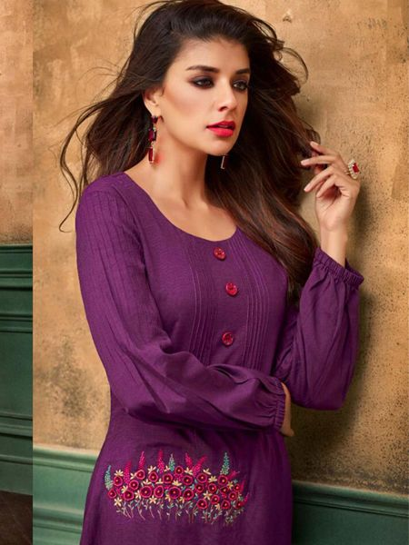 Stylish Purple Cotton Kurti