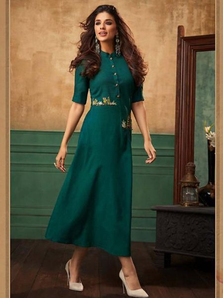 Buy Stylish Green Cotton Kurti Online in India- YOYO Fashion