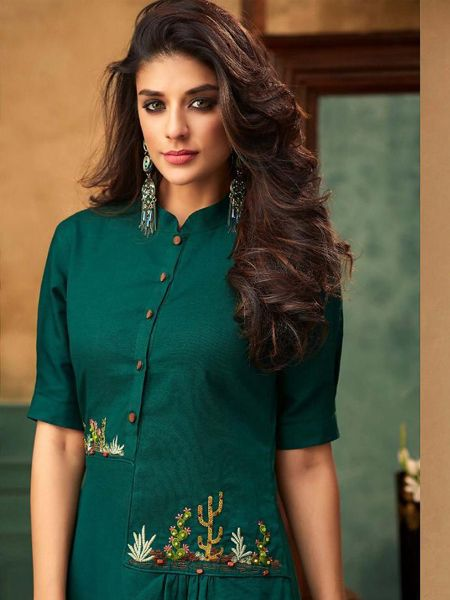 Stylish Green Cotton Kurti