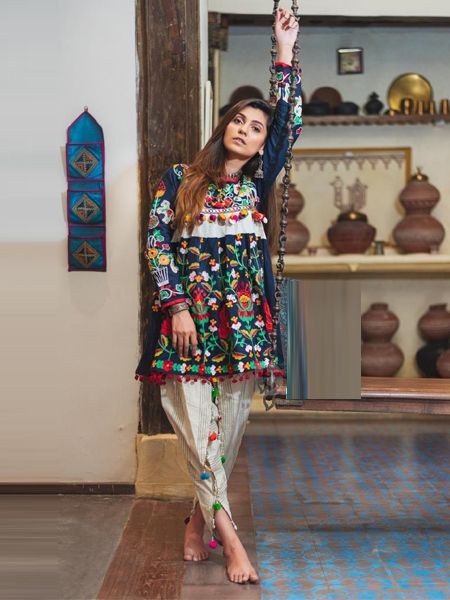 Buy Blue and White Kedia With Tulip Pants Online in India- YOYO Fashion