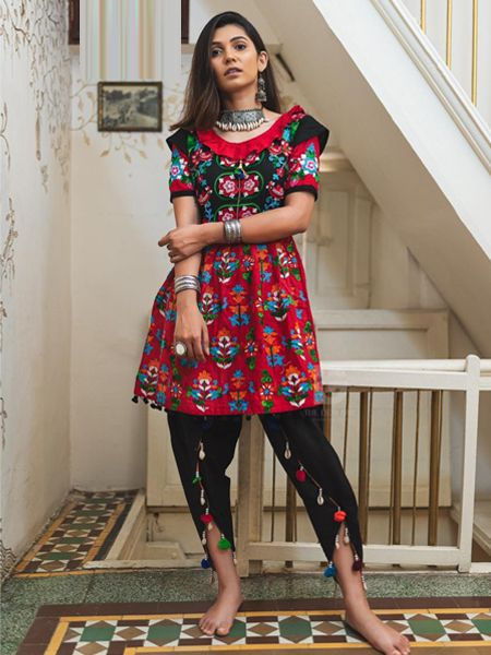 Buy Red and Black Kedia With Tulip Pants Online in India- YOYO Fashion