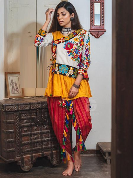 Buy Yellow and Red Kedia With Tulip Pants Online in India- YOYO Fashion