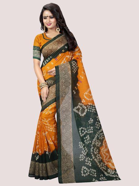Yellow Printed Bhagalpuri-Saree