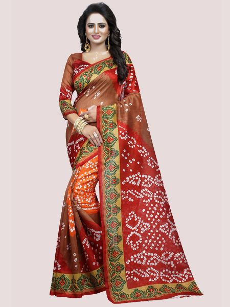 Red Printed Bhagalpuri Saree