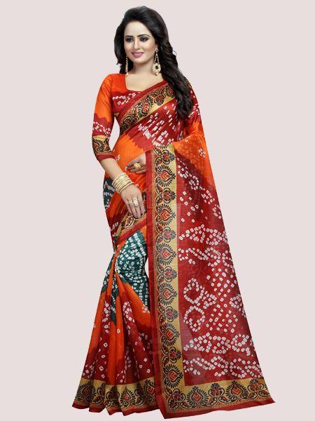 Maroon Printed Bhagalpuri Saree