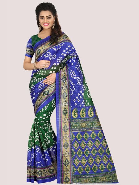 Blue and Green Printed Bhagalpuri Saree