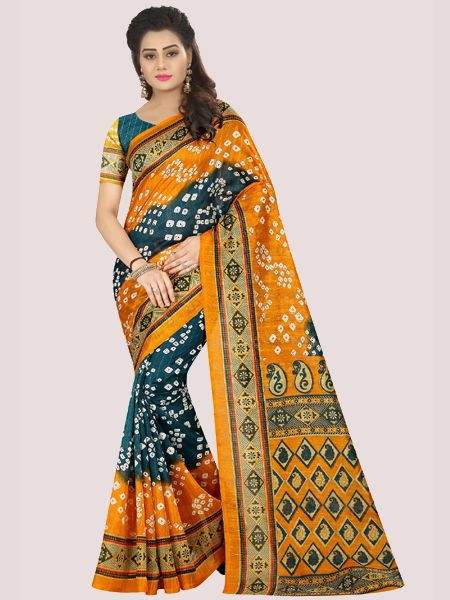 Yellow Printed Bhagalpuri Saree