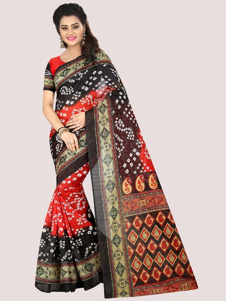 Red and Black Printed Bhagalpuri Saree