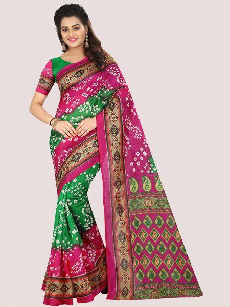 Pink Printed Bhagalpuri Saree