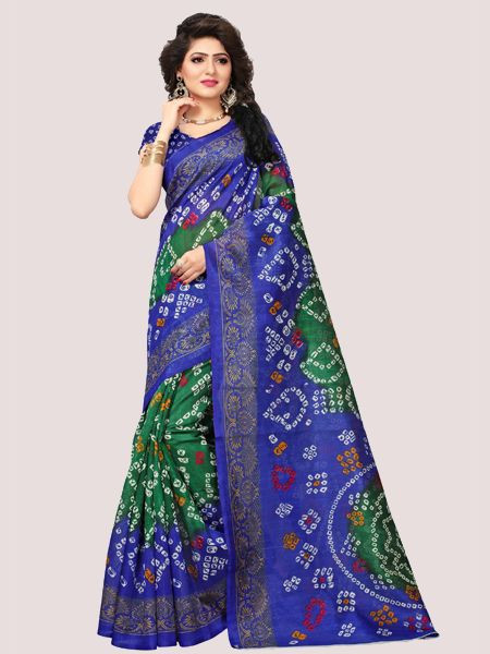 Blue Printed Bhagalpuri Saree