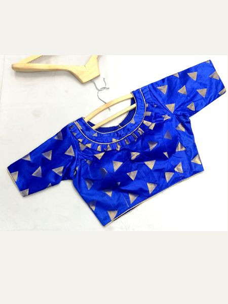 Buy Designer Blue Silk Blouse Online in India- YOYO Fashion