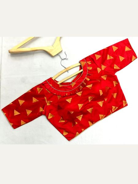 Designer Red Silk Blouse