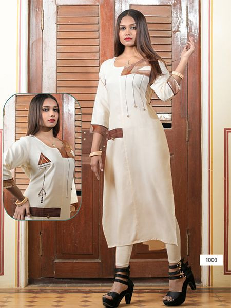 Designer Off White Rayon Kurti