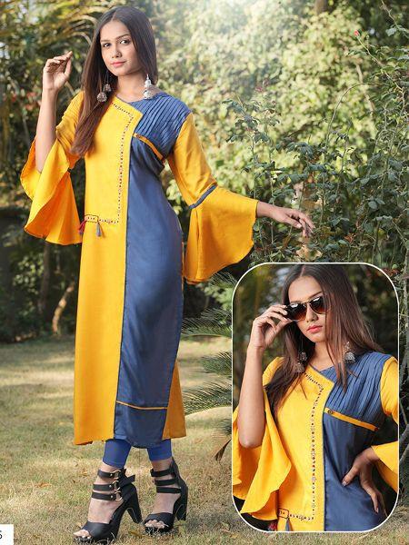 Designer Yellow Rayon Kurti