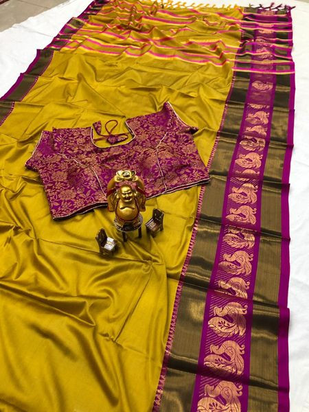Designer Yellow Cotton Silk Saree